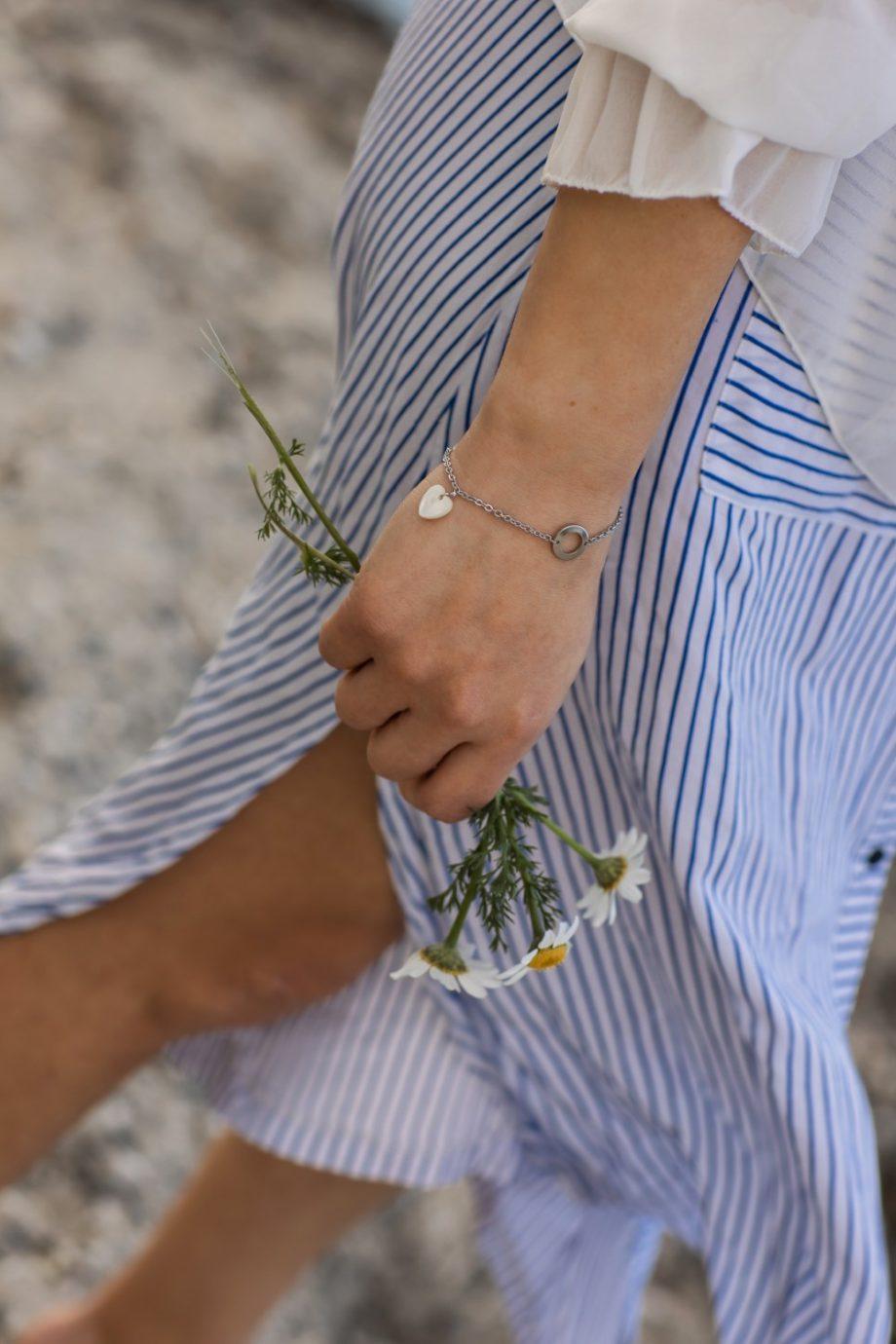 Ασημένιο γυναικείο βραχιόλι με ατσάλινη αλυσίδα