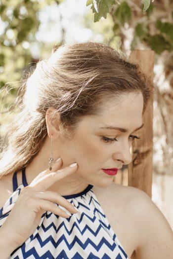 Ασημένια γυναικεία σκουλαρίκια με χάντρες κρύσταλλα