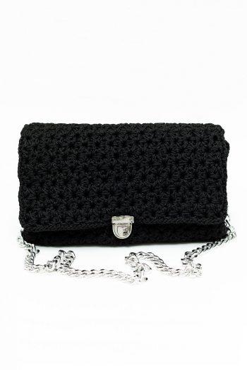 Γυναικεία τσάντα ώμου με ασημένια αλυσίδα