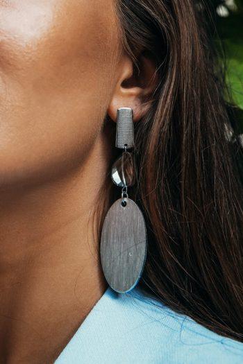 Γυναικεία ασημένια σκουλαρίκια με ατσάλινα στοιχεία